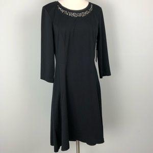 Simply Vera Wang | Black Rhinestone Neck Dress